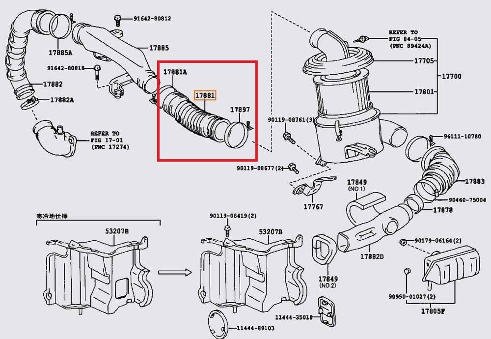 Toyota OEM Intake Hose 17881-67040 1KZ-TE 3.0L 88-97